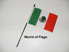 "MEXICO SMALL HAND WAVING FLAG 6"" x 4"" Mexican Crafts Table Desk Top Display"