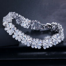 Engagement Jewelry Natural White Topaz Gems Solid Silver Flower Charm Bracelets