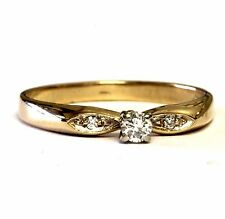 14k yellow gold .12ct round diamond engagement ring 2.1g estate vintage antique