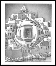 MC Escher Balkon Poster Kunstdruck mit Alu Rahmen in schwarz 65x55cm