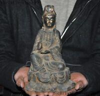 Old Chinese Buddhism fane bronze Gilt Kwan-Yin GuanYin Bodhisattva Buddha statue