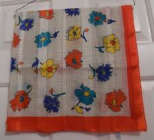 """TERRIART Red, Yellow, Green, Blue Flowers w/Red Border 30"""" Square Scarf-Vintage"""