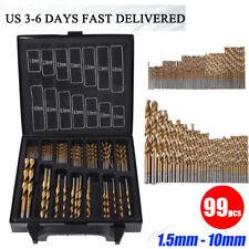 Titanium Coated HSS Drill Bit Set 99 Pcs Piece and Case Plastic Wood Metal Kits