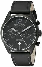 NEW SO & CO New York 5028.2 Men's Monticello BLACKOUT Date GMT Leather Watch 50m