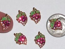 2 Pc Miniature dollhouse tiny little craft Flatback crystal grapes fruit 9mm New