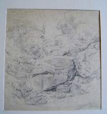 Viktor Sieger Austrian Pencil Drawing ROCK BROOK Signed Antique Original