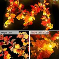 Artificial Autumn Fall Maple Leaves Garland Hanging Plant Leaf Lamp Party Decor