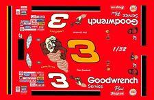 #3 Dale Earnhardt sr TAZ 2000 1/32nd Scale Slot Car Waterslide Decals