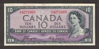 CANADA 1954 $10 COYNE TOWERS DEVILS FACE CHANGEOVER NOTE SERIAL E/D4271668 EF-AU
