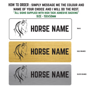 Personalised Horse / Stable Door Trailer Metal Name Sign Plaque Size 150x50mm