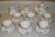 "Vintage Child's miniature tea set serving for 6 Blue Roses ""BEAUTIFUL"" toy"