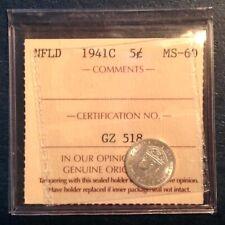 1941 C Newfoundland Canada George V Ten 10 Cents ICCS Uncirculated Unc