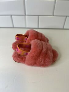 UGG Fluff Yeah Slide Size 8 Toddler Pink Rose Fuzzy Slippers Girls Uggs 1117462T