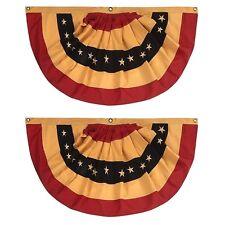 "Tea Stained Primitive Americana Buntings Set of 2 Patriotic Decoration 40""x20"""