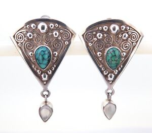 .Gorgeous Ornate Sterling Silver Spider Turquoise & Moonstone Clip-on Earrings