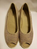 KEEN Cortona Wedge Jute Peep Toe Low Heels  Women's Size 10 Weave Tan