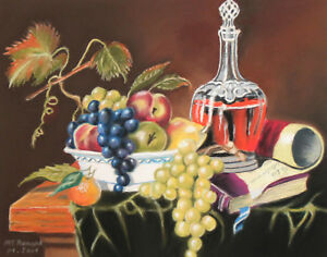 STILL LIFE WITH BOTTLE, FRUITS AND BOOK PASTEL PAINTING SIGNED