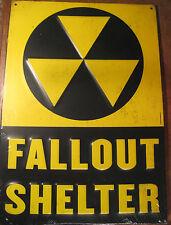 "Vintage Style FALLOUT SHELTER Embossed Metal Sign 13"" CIVIL DEFENSE COLD WAR ERA"