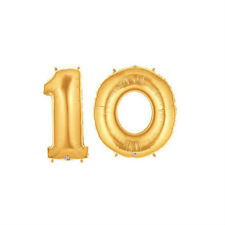 """Party Balloon Numbers """"10"""" Gold Betallic Megaloon 40"""" Mylar"""
