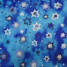 Jewish Judaica Fabric Jubilant Stars on Blue