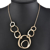 Fashion Charm Jewelry Chain Metal Circles Gold Punk Collar Girl Pendant Necklace