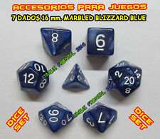 PACK 7 DADOS 16 mm. SÍMIL MÁRMOL / MARBLE BLIZZARD BLUE - ROLE PLAYING DICE SET
