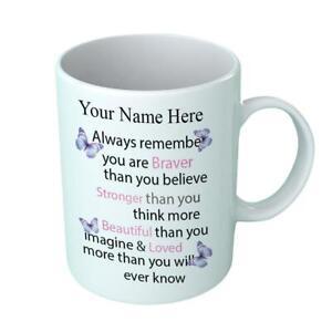 Beautiful Personalised Braver MUG Present Gift Sister Friend Mum Thank you