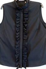 "NWT Tahari Black ""Delilah"" Front Ruffle Sleeveless Blouse Size L MSRP $68"