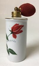 Vintage Porcelain Perfume Atomizer with Squeeze Bulb Red Rose Made in Austria