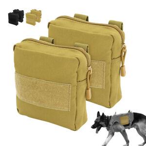 2pcs Tractical Molle Harness Pouches Treat Bags Detachable Travel Train Carrier
