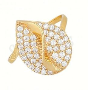 Black Friday0.97ct NATURAL DIAMOND 14K SOLID YELLOW GOLD COCKTAIL RING IN SIZE 7