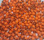 10mm Neon Orange Day of the Dead Halloween Skull Beads - Bag of 100