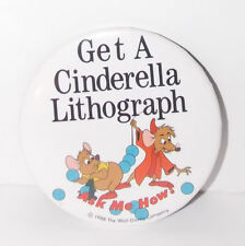 Walt Disney World Cinderella Mice Button 1988 3in Jaq Gus Cast Member Pin Rare