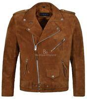 BRANDO Men's Real Leather Jacket Tan Suede Biker Motorcycle STYLE MBF