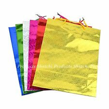 12 - Assorted Colours Holographic Gift Bag Medium Christmas Birthday Present