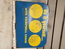 Vintage Campbell Chain Sign Advertising Sports Equipment Tin 50's? Store Dealer
