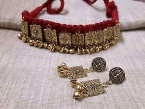 Indian Ethnic Traditional Golden color Choker Necklace Oxidized Jewelry set