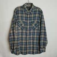 Lucky Brand Mens Blue Plaid Button Front Casual Long Sleeve Shirt Large X327