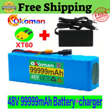 Lithium 48V 99.999Ah Ebike Battery 1000W Pack High Power + Charger Ebike Ion Bat