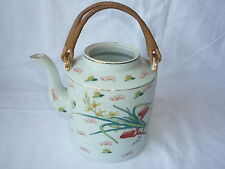 Chinese Porcelain Hand Painted Teapot with Bamboo Handle