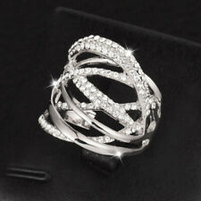 Gold Ring Women Party Wedding Jewelry Fashion Women Hollow Cubic Zirconia Silver