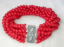 New Fashion 8 Rows 4mm Red Coral Beads 18KWGP Flower Clasp Women Bangle Bracelet