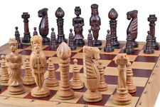 Luxury Oak wood chess set, hand made pieces, King size 150mm,box 650x325x80 mm