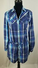 Puma women small blue plaid long sleeve tunic snap buttons