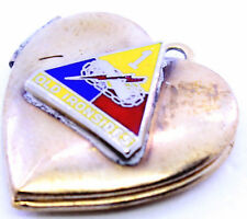 Vintage SWEETHEART HEART US Army 1st Armor Patch Charm LOCKET Military