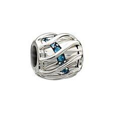 Authentic Chamilia Sterling Charm Enchanting Spiral Bead New Swarovski Blue