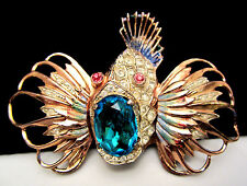 """Rare Vintage 3"""" Signed Sterling Coro-Craft Jeweled Enamel Rock Fish Brooch A11"""