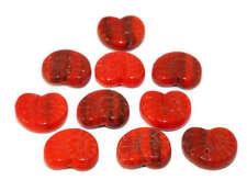 2 X Corazón Plata Hoja Forrado Murano grano focal 30mm la fabricación de joyas