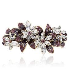 B39 Clear Crystal Purple Rhinestone Flower Barrette Hair Clip Party Gift