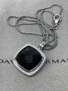 "David Yurman 925 Silver Albion 20mm Black Onyx & Diamond Necklace 16"""